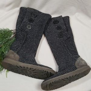 UGG Tall Gray Sweater Boots Size 8